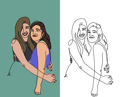 Ilustraciones personalizadas de amigas parejas digital en blanco y negro