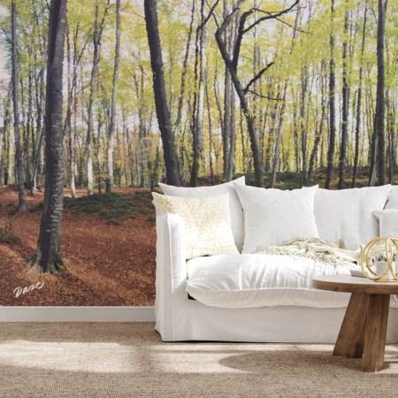 Mural bosque pintado a mano en la pared con arboles