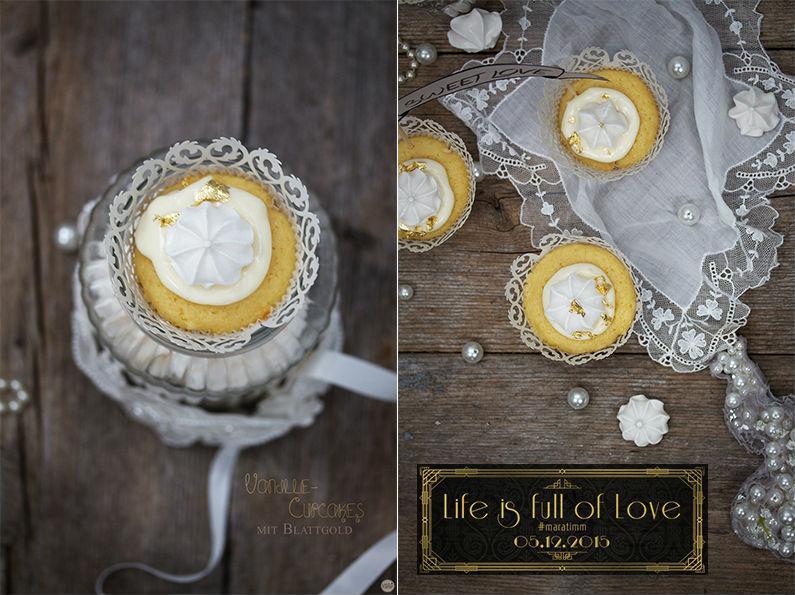 Vanille Cupcakes mit Blattgold