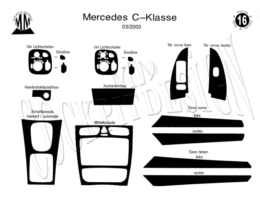 Mercedes C W203 10.2000 up Dash Trim Kit 3M 3D 16-Parts