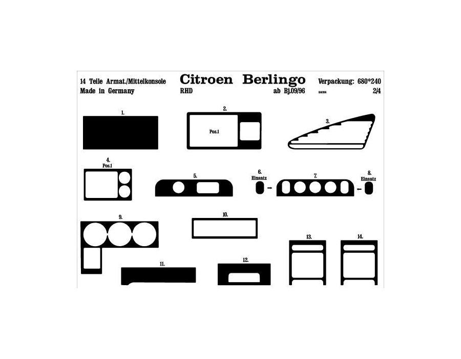 RHD Citroen Berlingo Mk1 Dash Trim Kit 3M 3D 14-Parts