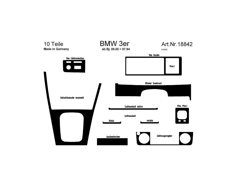 BMW 3 Series E30 Dash Trim Kit 3M 3D 10-Parts