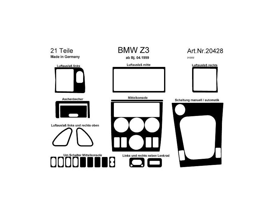 BMW Z3 Dash Trim Kit 3M 3D 21-Parts