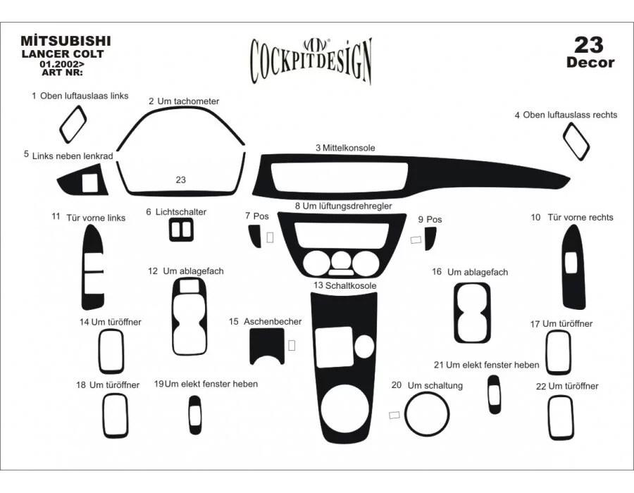Mitsubishi Lancer Mk9 Dash Trim Kit 3M 3D 19-Parts