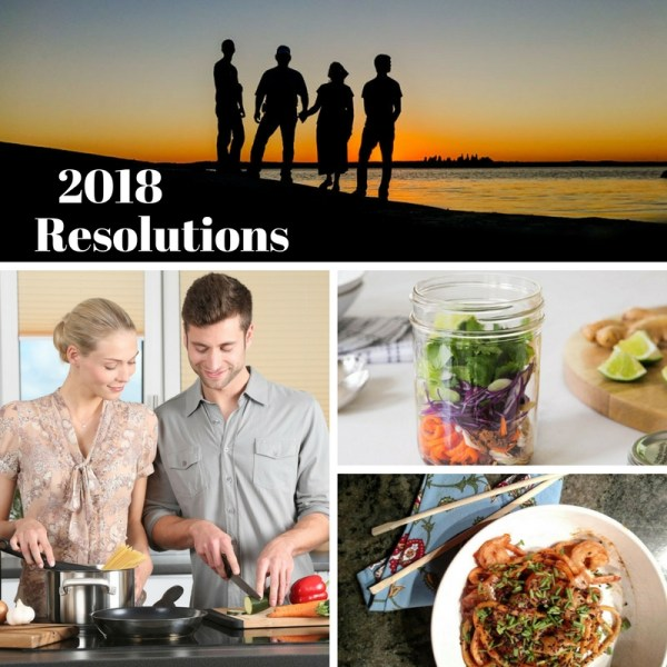 Photo collage of people at beach at sunset, couple cooking, and healthy eating