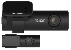 The DR650GW-2CH's front and rear cameras in closeup.