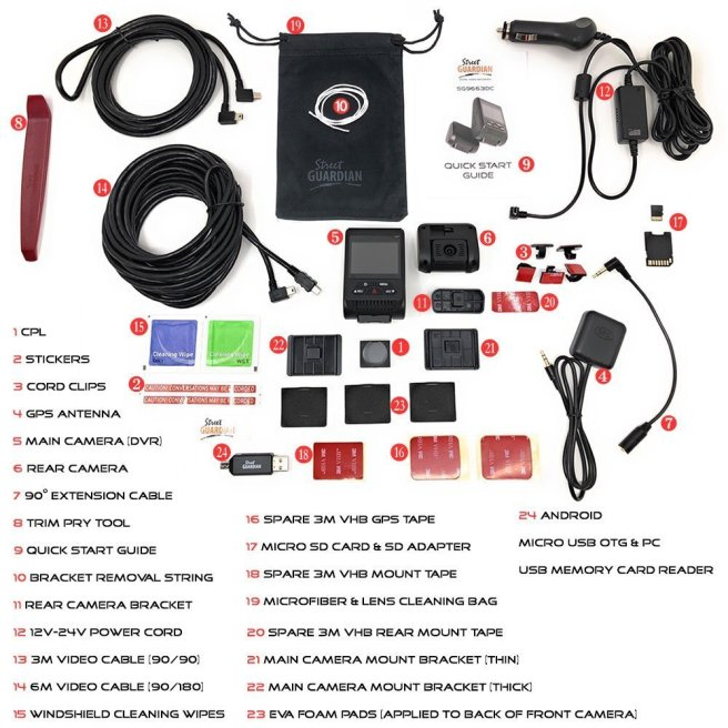 Circular Polarized Lens filter, stickers, cord clips, GPS antenna, main camera (DVR), rear camera, GPS extension cable, trim pry tool, quick start guide, bracket removal string, rear camera bracket, 12V-24V power cord, 3 meter video cable (90/90), 6 meter video cable (90/180), windshield cleaning wipes, spare 3M VHB mount tape, micro SD card & SD adapter (32GB, 64GB, 128GB, or 256GB), spare 3M VHB GPS Tape, microfiber & lens cleaning bag, spare 3M VHB rear mount tape, main camera mount bracket (thin), main camera mount bracket (thick), EVA foam pads (goes between mount & camera), Android micro USB compatible OTG & PC USB memory card reader