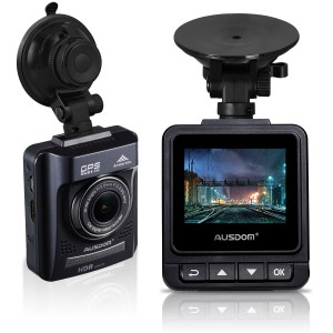 Ausdom A261 dash cam, front and rear view