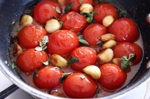 tomatoes and garlic, awaiting pastry blanket
