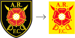 Albion Rovers badge –with and without shield