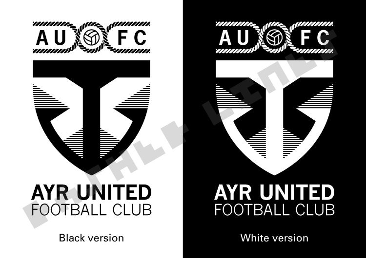 Ayr Utd redesigned badge - black and white versions