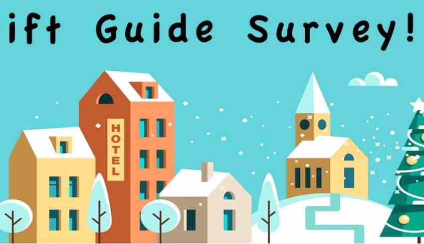 Graphic of a snowy village with wrting saying Gift Guide survey