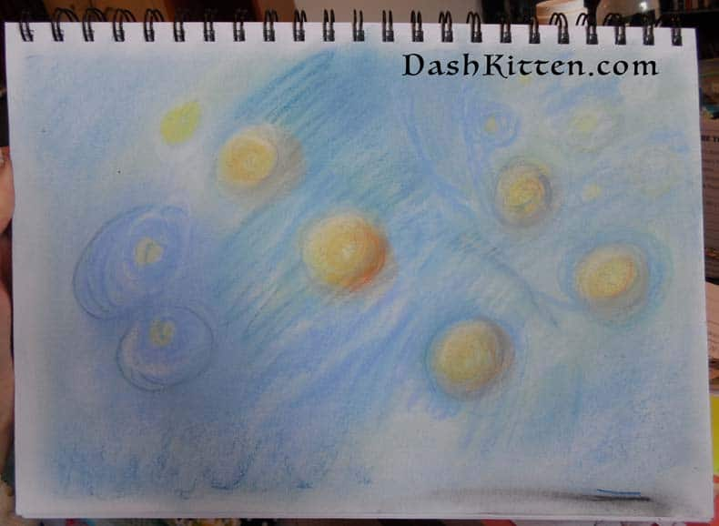 Hunt for Inspiration Pleiades Image. What inspires us. pastel sketch
