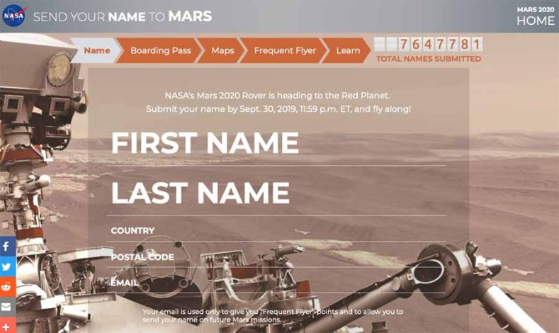 an image of our Mars Rover 2020 Ticket