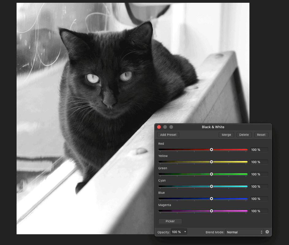 The basic black and white pre-set before you change slider colours.