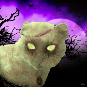 Cat Zombie graphic combinging photograph and background for Halloween
