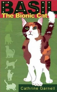 Photograph of the cover of the popular published book about Basil the Bionic Cat