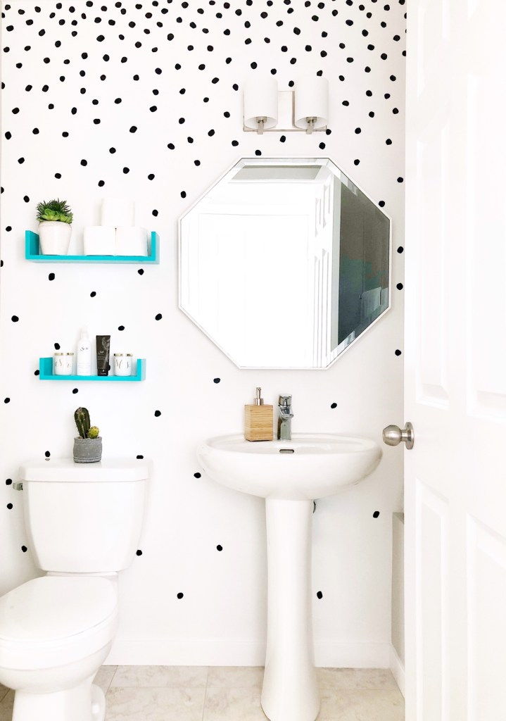 PERK Up Your Powder Room! How The Simple Act Of Paint and Wall Decals Can Transform Your Space!