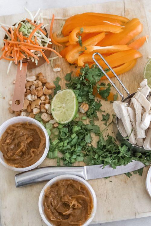 thai chicken wrap set up