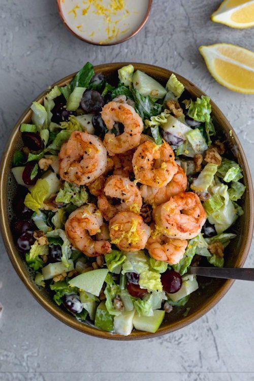 Shrimp Waldorf Salad With Lemon Greek Yogurt Dressing - Dash Of Mandi