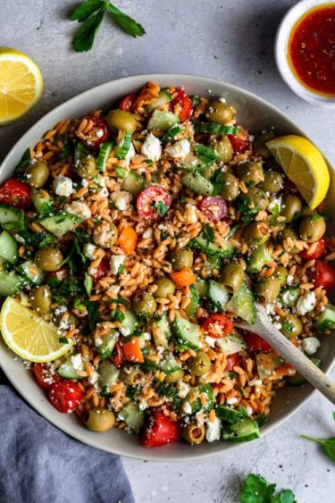 Greek Risoni Salad - Dash Of Mandi