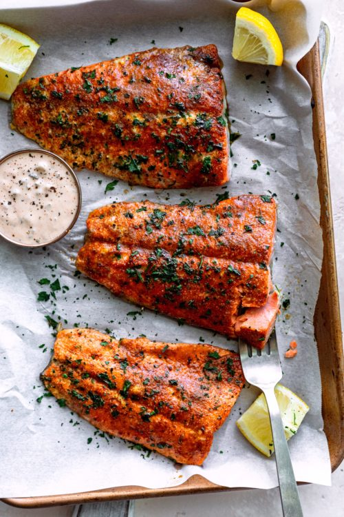 Baked Cajun Salmon With Spicy Tartar Sauce - Dash of Mandi