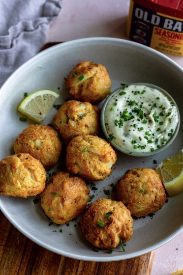 Healthy crab cake poppers in the skillet or air fryer