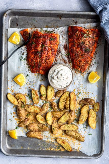 Salmon And Fingerling Potato Sheet Pan Meal For Two
