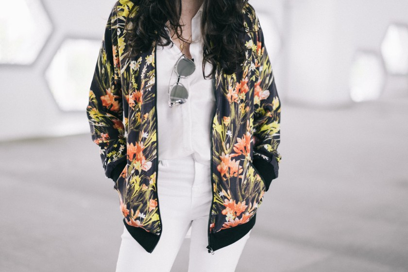 Floral bomber jacket - Somedays Lovin - Miami Fashion Blogger - JBrand white jeans