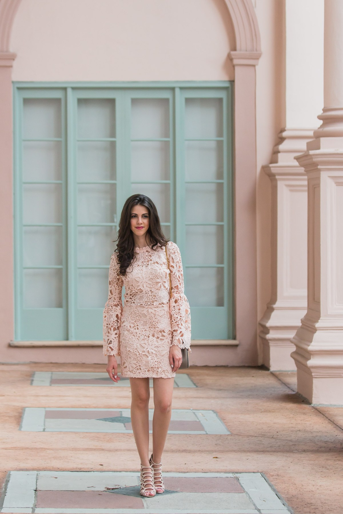 Dash of Panache styling a Blush WILLAMETTE LACE DRESS