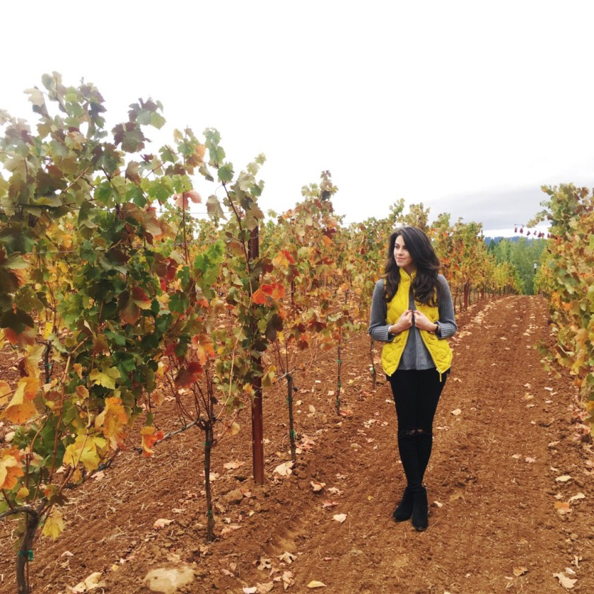 Jackie Roque in a vineyard in Portland