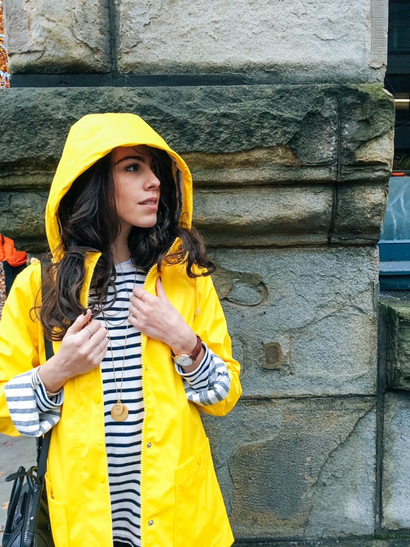 Jackie Roque styling a Topshop yellow raincoat in Vancouver