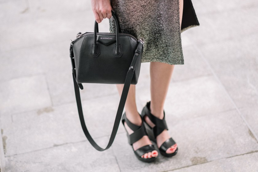 Jackie styling a Toyshop dress, DVF Wedges and Givenchy mini antigona bag for new years eve