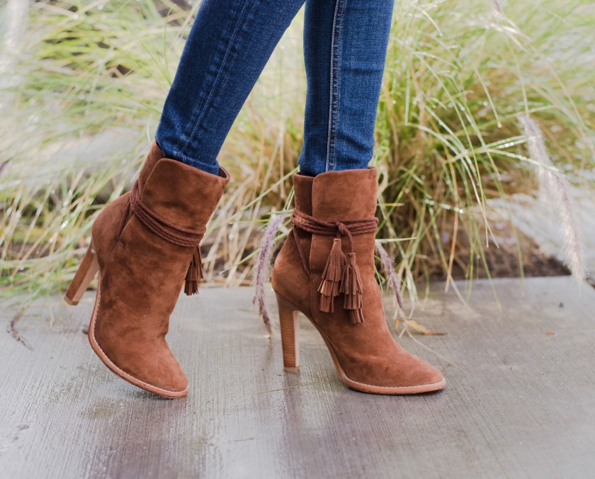 Jackie Roque styling the Joie Chap suede bootie in brown.