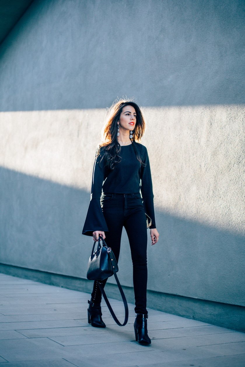 Jackie Roque styling a Rag and Bone Dive Jean, Kendall and Kylie bell sleeve shirt, Givenchy antigona mini bag