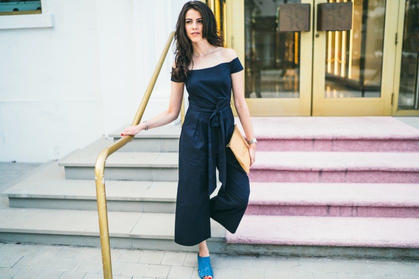 Jackie Roque styling a Chelsea 28 Culotte jumpsuit in Miami.