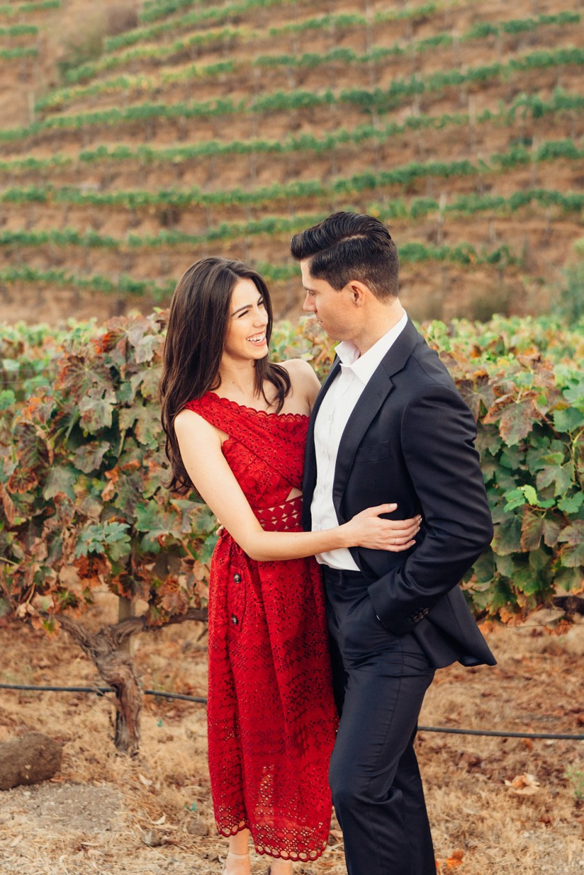 Jackie and Luke take engagement pictures at a vineyard in Malibu.