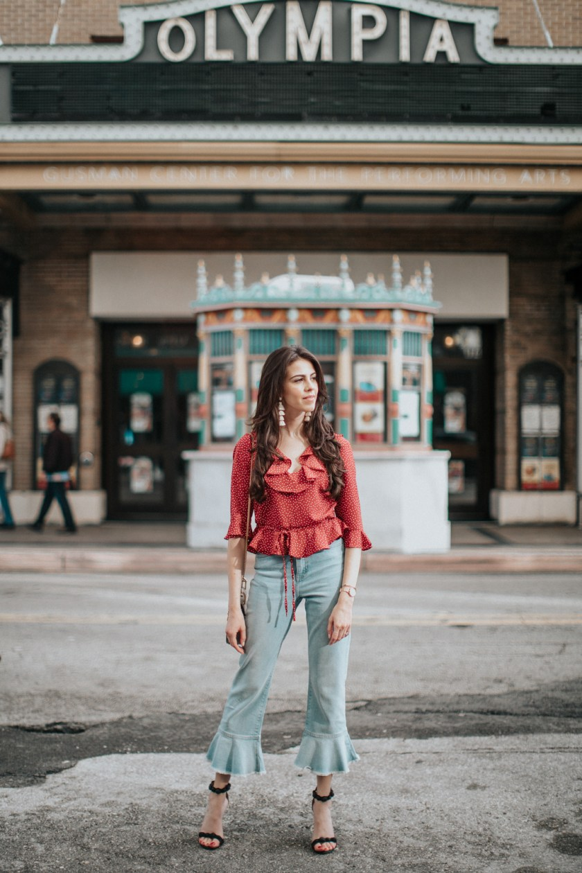 Jackie Roque styling a Frill toyshop look in Downtown Miami.