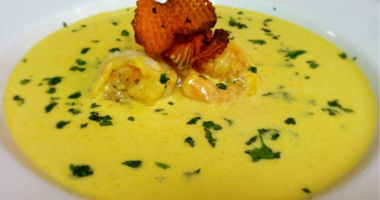 Thai Coconut Shrimp Soup with Sweet Potato Chips