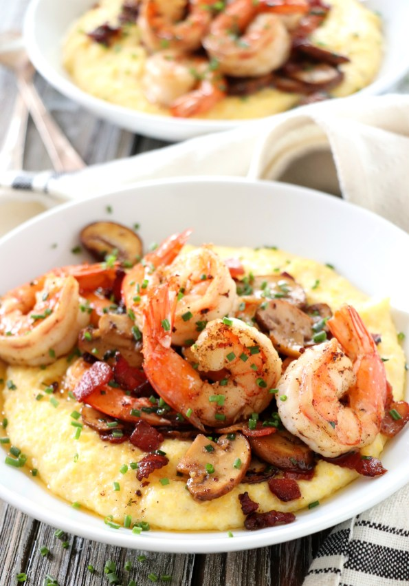 Bacon Mushroom Shrimp with Creamy Cheese Polenta