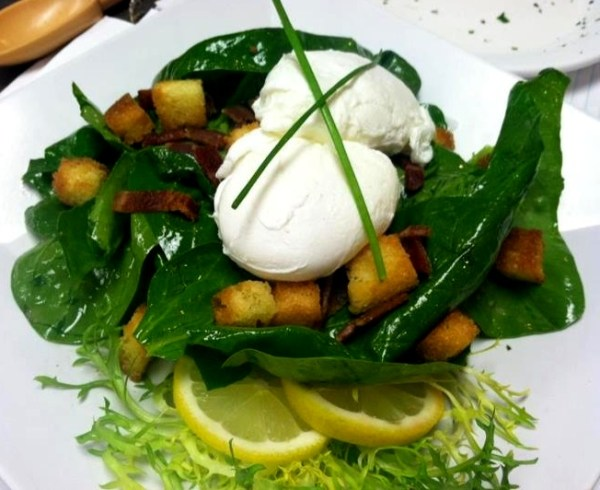 Spinach Bacon Salad with Poached Eggs