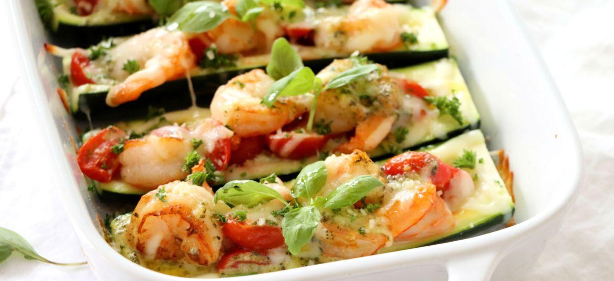 Shrimp Stuffed Zucchini with Pesto Cream Sauce