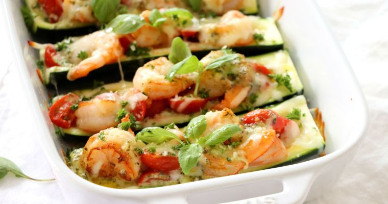 Shrimp Stuffed Zucchini with Pesto Cream Sauce