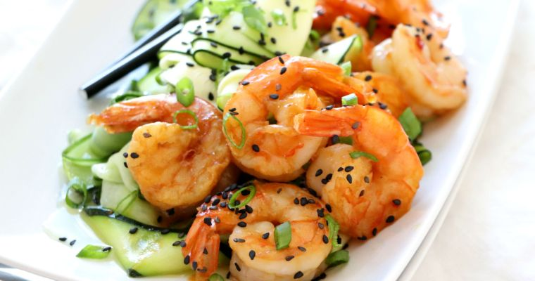 Asian Shrimp with Cucumber Zucchini Salad
