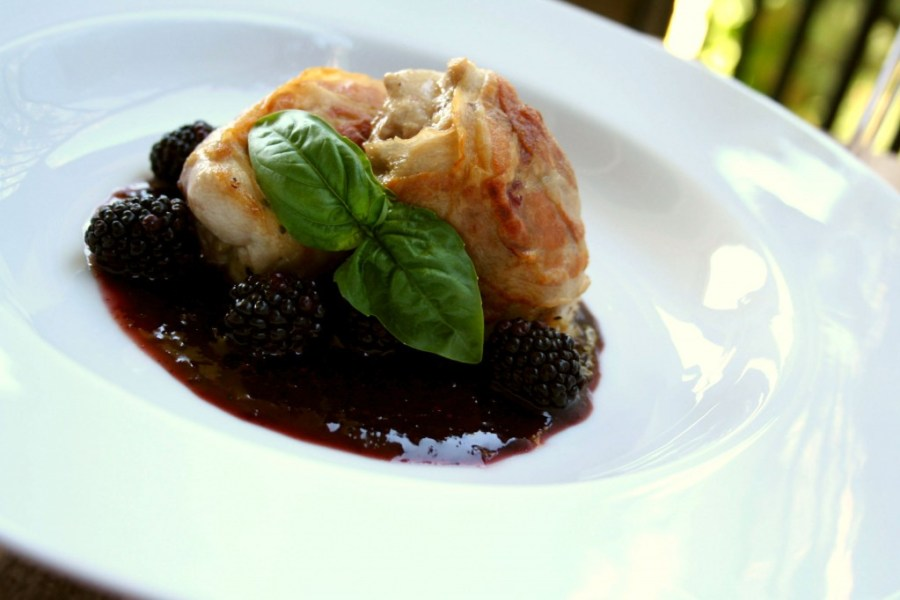 Pancetta Wrapped Chicken Thighs with Blackberry Sauce