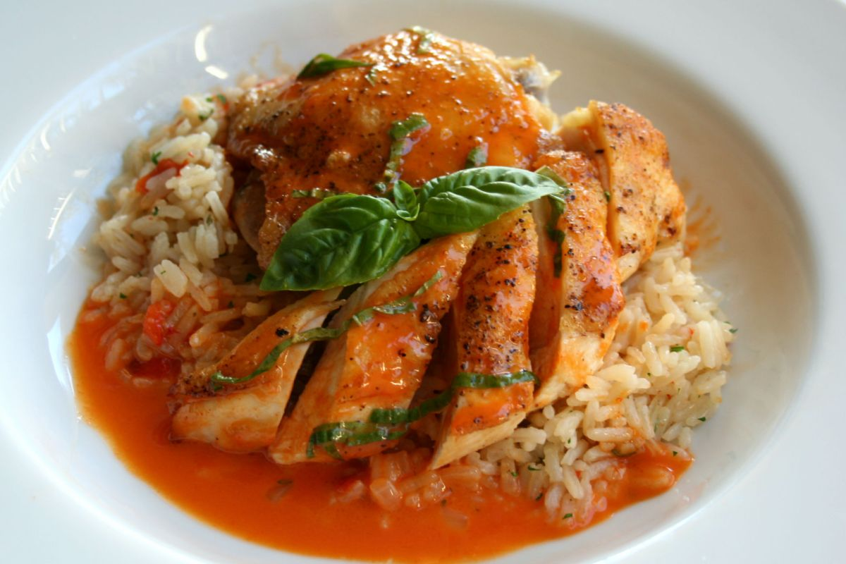 chicken with red thai curry beurre blanc