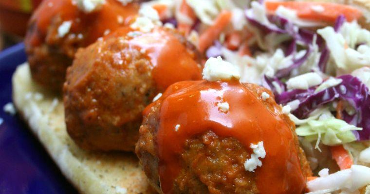 Gorgonzola Stuffed Buffalo Meatball Sandwiches