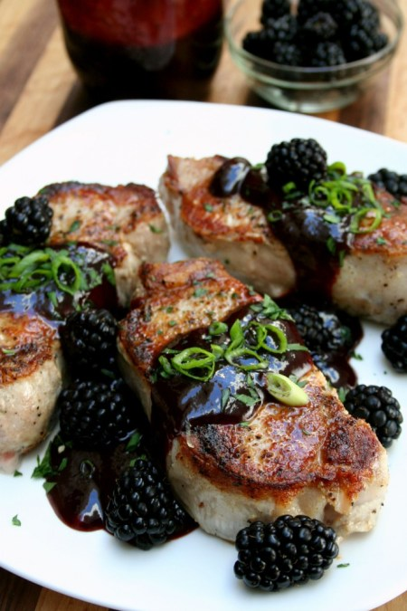 Pork Chops Smothered in Chipotle Blackberry BBQ Sauce