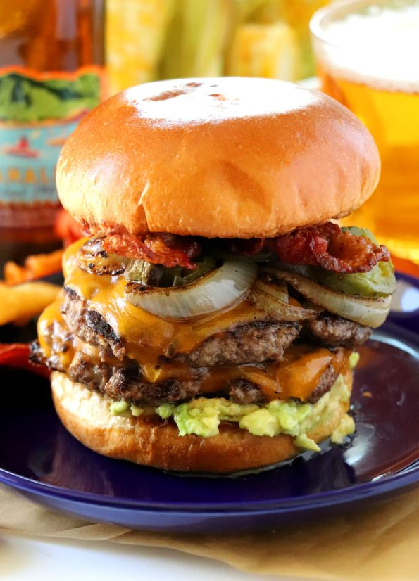 Bacon Burger with Roasted Jalapenos, Caramelized Onions and Guacamole