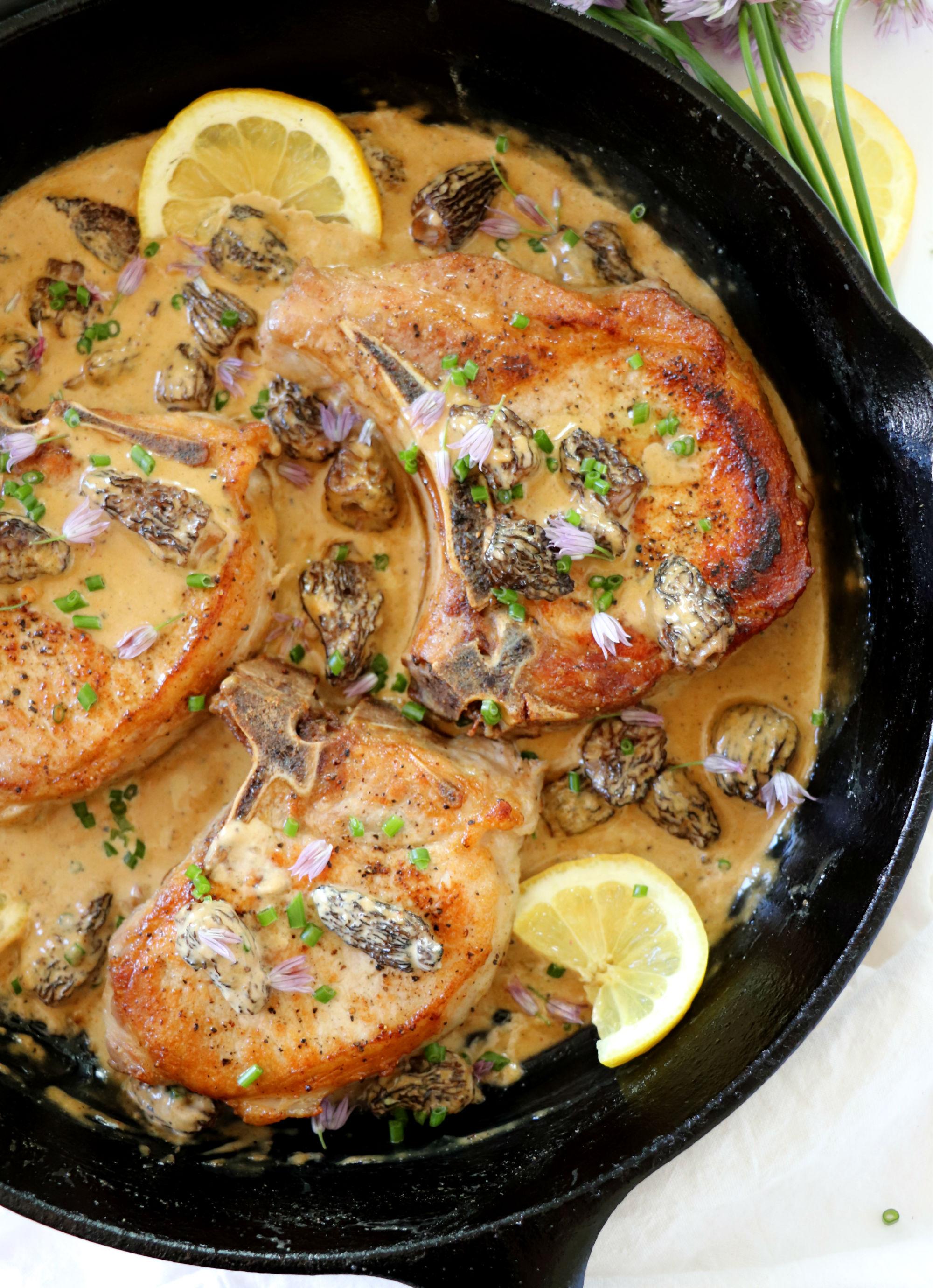 Pork Chops with Morel Mushroom Brandy Cream Sauce
